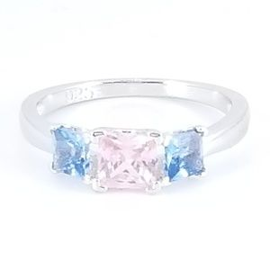 Jewelry - Sterling Silver Pink Topaz & Blue Topaz Ring